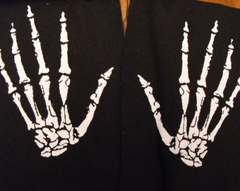 2 SKELETON HANDS patch goth horror punk Free Shipping
