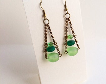 Green Spring Dangle Earrings