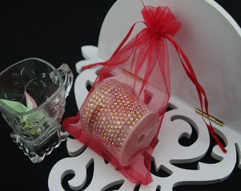 100  3.54''x4.72''   Red Organza Jewelry Gift Pouch Bags Great For Wedding favors, sachets, beads, jewelry, and more