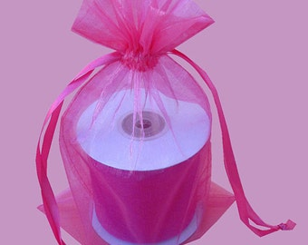 10  7''x9'' Fuchsia Organza Jewelry Gift Pouch Bags Great For Wedding favors, sachets, beads, jewelry, and more
