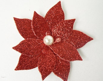 "5 Red Glitter Poinsettias with acrylic Pearl, 2.75"" great for Christmas Scrapbooking, Embellishments, Garlands, Cupcake Toppers"