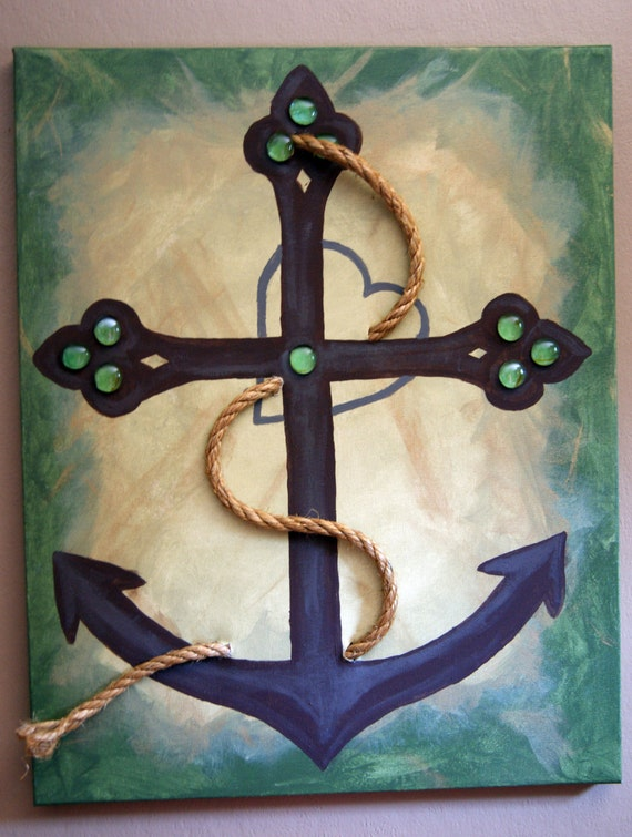 Items similar to anchor cross and heart canvas painting for Cross paintings on canvas