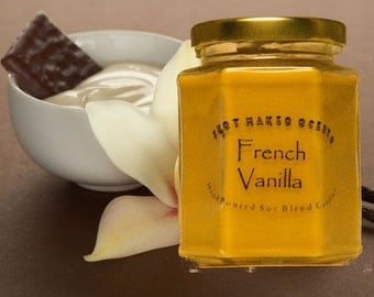 French Vanilla Scented Soy Candle - Homemade French Vanilla Candle - Free Shipping on Orders of 6 or More - Home Made French Vanilla Candle