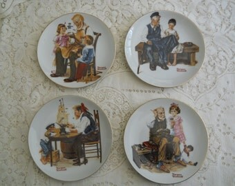 Vintage Four Beloved Classics By Norman Rockwell Series, Limited Edition Plates