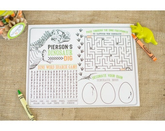 Dinosaur Excavation Dig Activity Page - Printable Customized Sheet