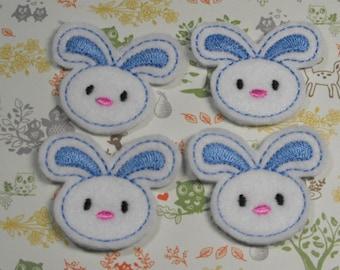 Light Blue Bunny felties - feltie - Machine embroidered - felt applique - felt embellishments - hairbow center - scrapbook