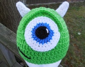 Monsters Inc Inspired Mike W Crocheted Hat/ Made To Order Character Hat/ Handmade Crocheted Monsters Inc Inspired Photo Prop