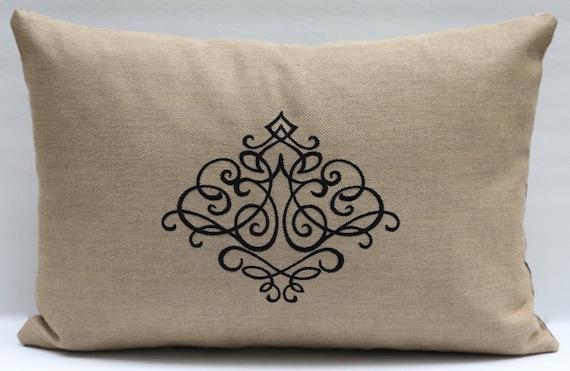 Embroidered Black Scroll Lumbar Pillow Ikat Black and