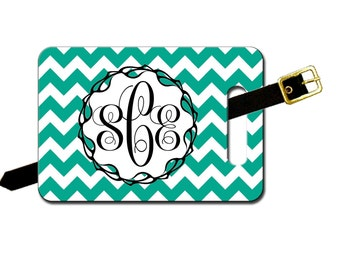 Custom luggage tag, monogrammed-Several Colors Of Chevrons-add your text on reverse-Free Shipping