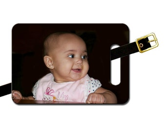 Custom photo large two sided luggage tag - add your text on reverse-Free Shipping