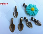 Nickel free,,,40 pcs 8 mm Bail, Zinc Alloy Glue on Bail, Antique Bronze finding ,base setting, Great for resin cabochon flower,