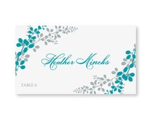 INSTANT DOWNLOAD - Wedding Placecard Template - Exquisite Vines (Peacock & Silver) Foldover - Microsoft Word Format