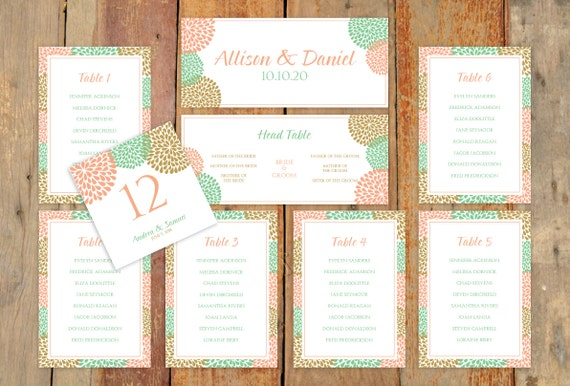 Wedding Seating Chart Template - DOWNLOAD Instantly - EDITABLE TEXT - Chrysanthemum (Peach, Mint & Gold)  - Microsoft Word Format