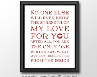 no one else will ever know nursery poem, strength of my love print, no one will ever know wall decor, nursery quote print, kids quote