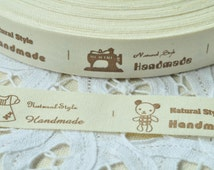 Cotton Ribbon 20mm(3/4'') x 5 Yards Sewing Tape Label - Birdcage Bird Cage Tree Letter Hand Made Natural Style Sewing Machine Letter Y094