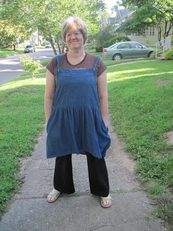 Plus size denim jumper dress