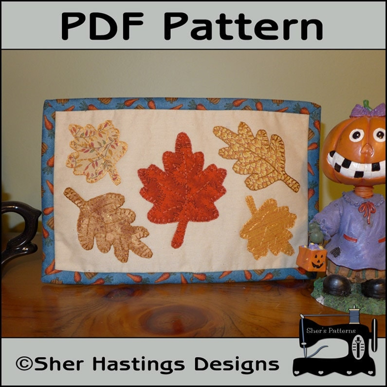Pdf Pattern For Fall Leaves Mug Rug Autumn Mug Rug Pattern