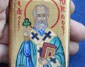 saint patrick.miniature .Saint Patrikios hand painted.byzantine icon.catholic icon.Saint Patrick.st patrick