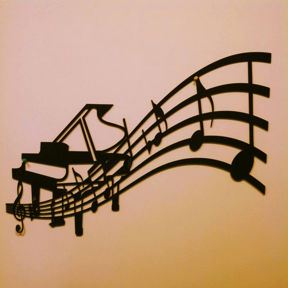 piano and sheet music metal wall art. Black Bedroom Furniture Sets. Home Design Ideas