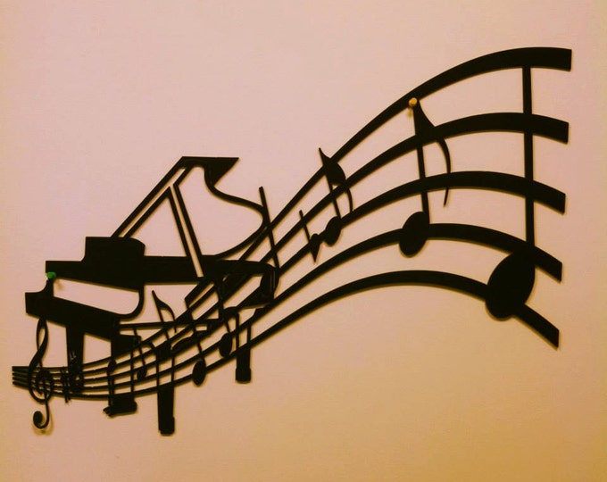 Piano and Sheet Music Metal Wall Art