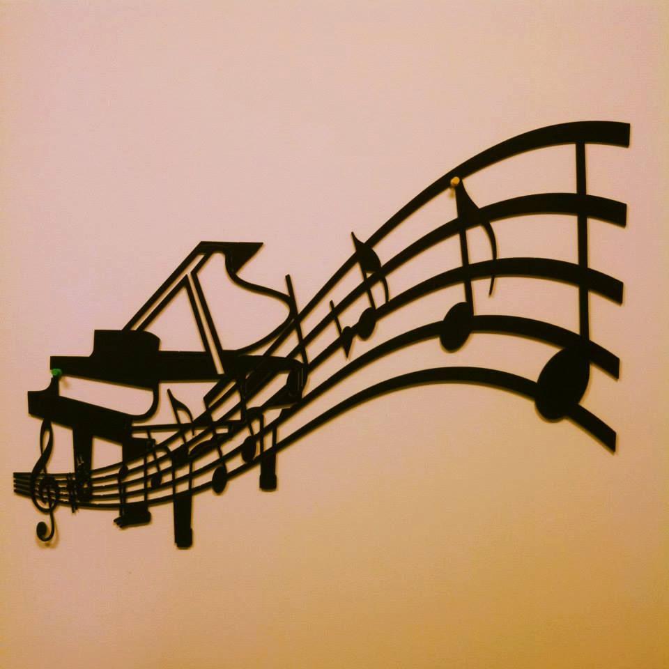 Piano Music Wall Decor : Piano and sheet music metal wall art