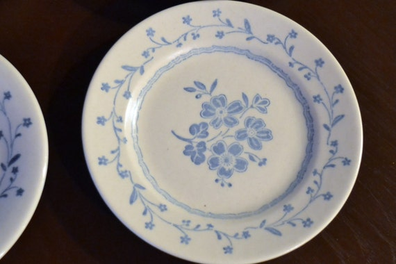 Vintage Royal China Americana Country Charm 5 Saucers 3 Bread Plates Blue White Replacement PanchosPorch