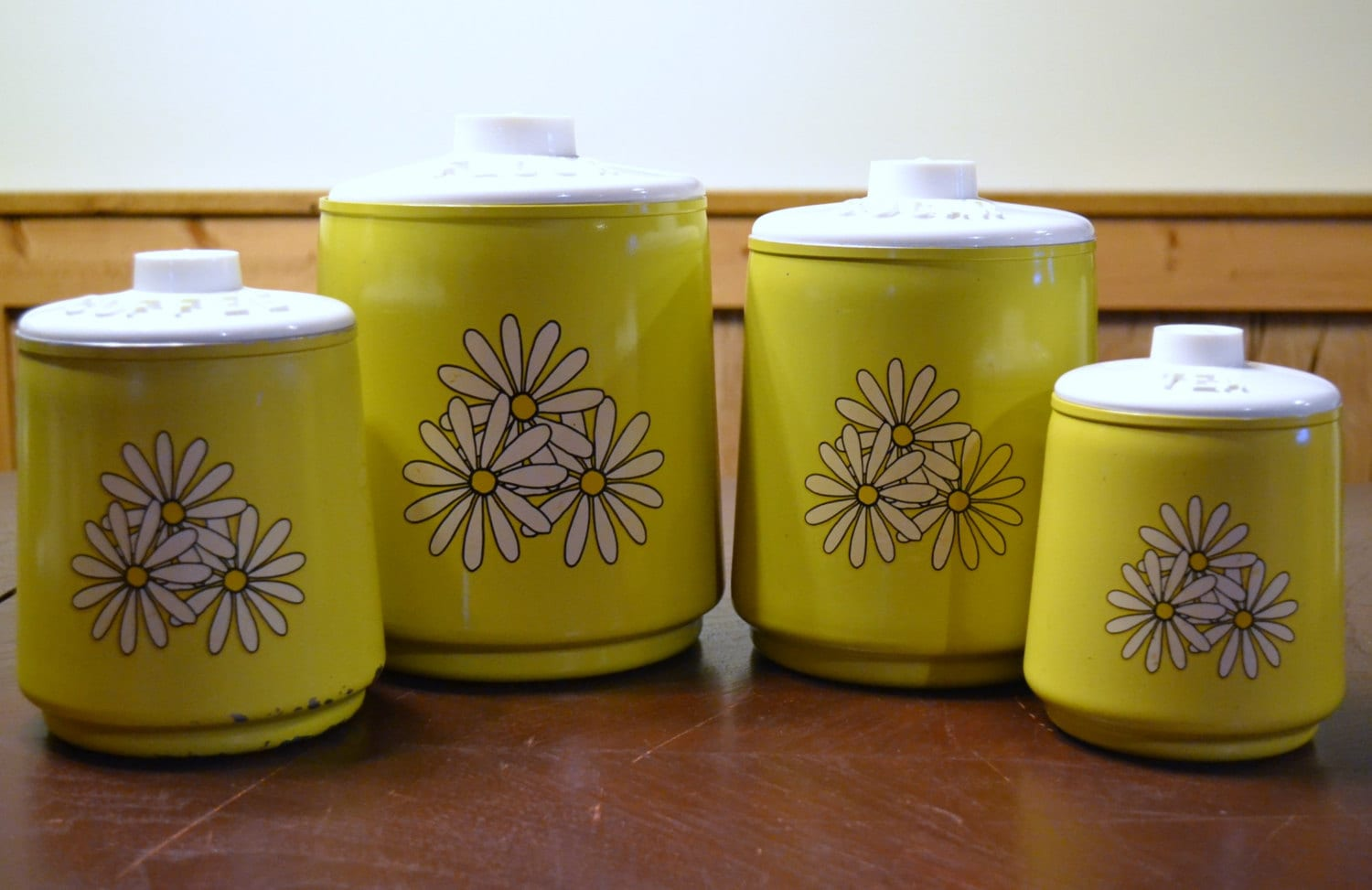 Retro Metal Kitchen Canisters Yellow with White Daisies Kromex