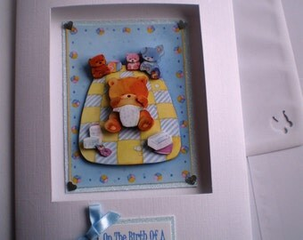 Handmade New Baby Decoupage Card