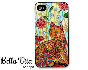 iPhone 4 Case -  Beautiful Cat iPhone 4s Case, iPhone 4 Protective Case, Cases for iPhone 4, Rubber iPhone Case (4051)