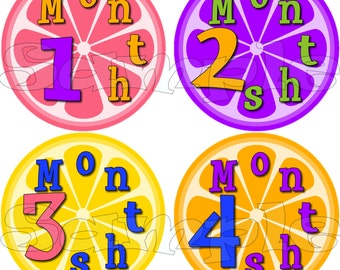12 Monthly Stickers age Sticker Baby Shower gift 1- 12 Months onepiece Infant Month stickers Baby Girl pink purple green lemon orange Fruit