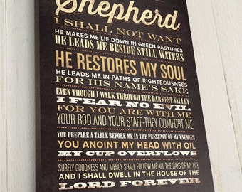 The Lord is My Shepherd, Bible Verse on Canvas, Christian Art, Rustic Vintage Style, Bible Verse Wall Decor, Psalm 23, Premium Canvas