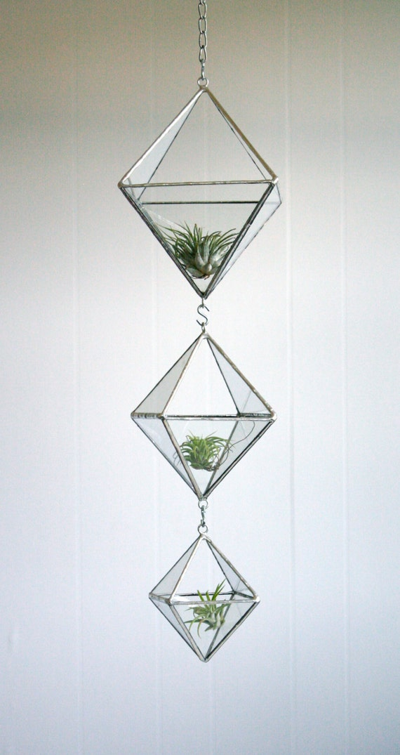 Terrarium, Stained glass hanging terrarium, geometric triple tiered diamond, eco-friendly recycled glass