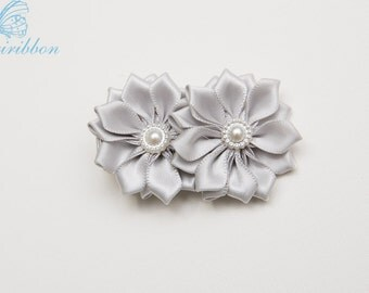 grey ribbon flowers hair clip - ponytail holder - you choose color  120