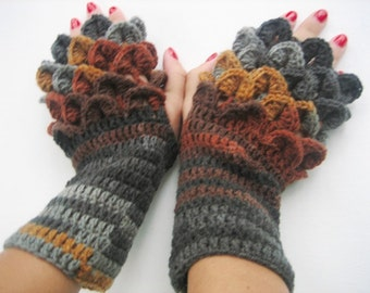 crochet gloves Fingerless dragon scale women fingerless gloves crochet women's gloves women's Arm Warmers Autumn Color Accessory