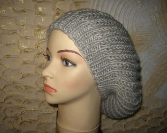 Warm Slouchy  knitted hat for women. Chunky beret.