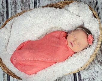 Newborn Cheesecloth Wrap in Coral,  Large Size 3ft x 6ft - Photo Prop Wrap