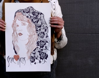 Screen Printed Stevie Nicks Poster