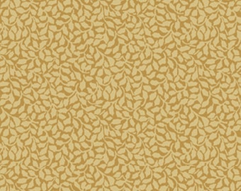 SUPER CLEARANCE!  One Yard My True Love Gave to Me - Tender Holly in Gold Cotton Quilt Fabric - Erin McAllister - Benartex Fabrics (W391)