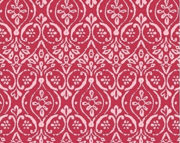 SUPER CLEARANCE!  - One Yard Two By Two - Damask in Red and Pink - Cotton Quilt Fabric - Whistler Studios - Windham Fabrics - 33576-5 (W299)