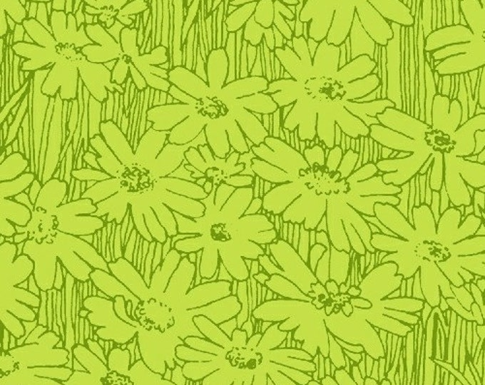 SUPER CLEARANCE! One Yard Tonal Daisies in Green - Petal Pushers Cotton Quilt Fabric - by Whistler Studios for Windham Fabrics (W474)