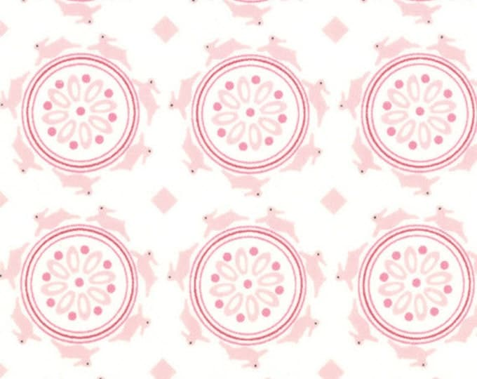 One Yard Jubilee - Medallion Bunny in Cream Pink - Cotton Quilt Fabric - from Bunny Hill Designs for Moda - 2853-11 (W1349)
