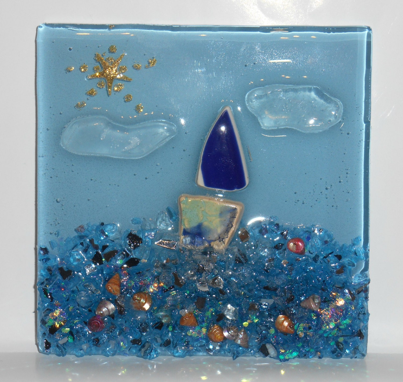 Decorative sea glass bathroom kitchen glass tile blue glass for Sea glass mosaic tile bathroom