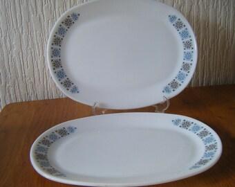 Two JAJ Pyrex Chelsea   Pattern 30 cm Oval Steak  Plates Made in England