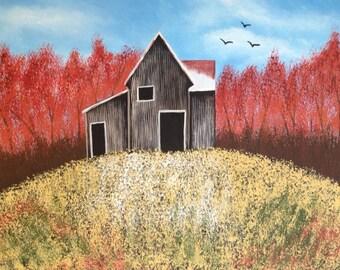 Autumn barn painting,16x20x.75.tree painting,fall painting,landscape painting,canvas art,bird painting