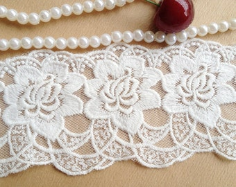 White Rose Lace Embroidered Mesh Lace Trim for Bridal Supplies, Altered Couture, Costume Design, 2 yds