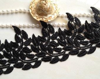 Black Lace Trim, Crocheted Lace Trim, Black Leaves Trim, Leaves Lace Trim