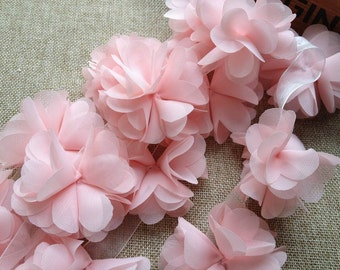 Light Pink Chiffon Lace, Flowers Chiffon Trim, 3D Chiffon Lace Trim, Wedding Supplies 1 yard