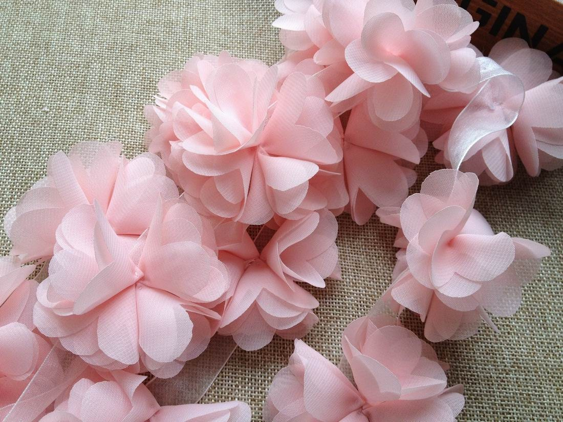 Light Pink Chiffon Lace Flowers Chiffon Trim 3D by lacelindsay