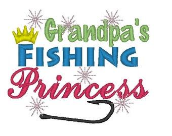 Instant Download: Grandpa's Fishing Princess Embroidery Design