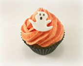 24 Halloween Ghost Fondant Toppers, Halloween Cake Cupcake Cookie Topper, Halloween Party Decoration,Ghost Edible Topper,Spooky Party - LenasCakes